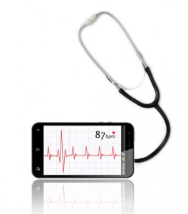 Pulse Trace on Smart Phone and Stethoscope